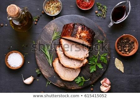 gegrild · varkensvlees · sla · salade · maaltijd · achtergrond - stockfoto © neiromobile