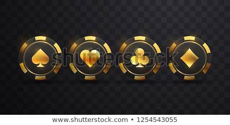 Foto stock: Conjunto · pôquer · dourado · elementos · fundo · terno