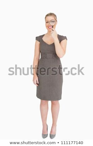 donna · lente · di · ingrandimento · occhi · bianco · suit - foto d'archivio © wavebreak_media
