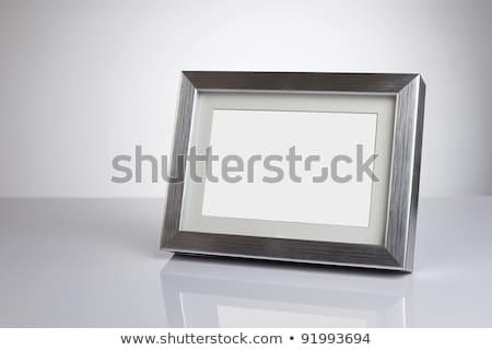 Legno rettangolare photo frame isolato bianco muro Foto d'archivio © karandaev