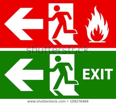 Emergência fogo sair porta assinar humanismo Foto stock © krabata