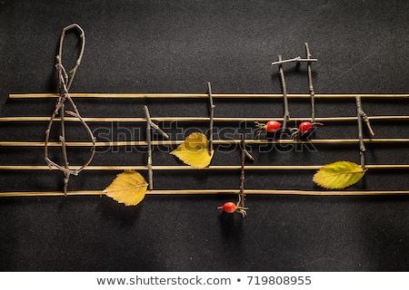 осень музыку дерево дизайна красный черный Сток-фото © mart