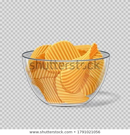 Plaka cips mayonez ketçap gıda akşam yemeği Stok fotoğraf © guillermo