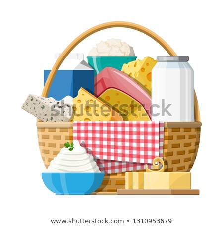 wicker basket with dairy product Stock photo © M-studio