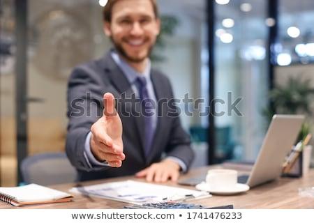 ビジネスマン ハンドシェーク オープン 手 ポジティブ 白 ストックフォト © lunamarina