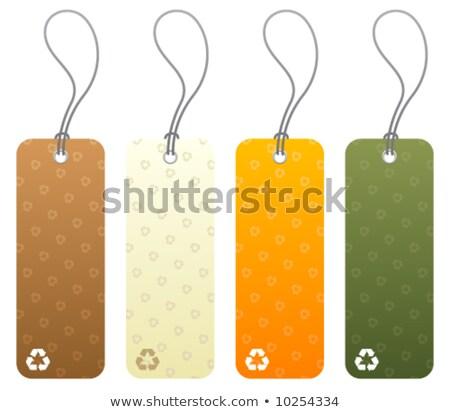 Foto stock: Onjunto · de · 4 · etiquetas · con · iconos · de · reciclaje