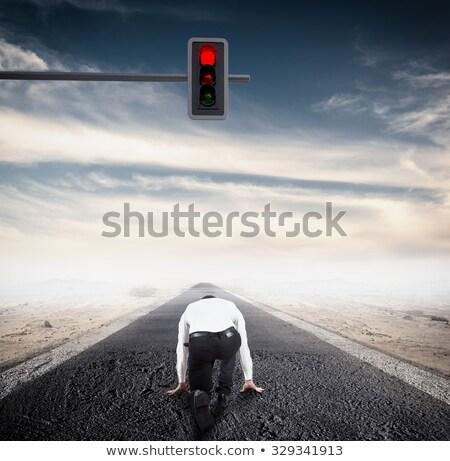 Işadamı kırmızı trafik ışığı iş gökyüzü Stok fotoğraf © stevanovicigor