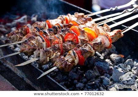 Succosa fette carne salsa fuoco kebab Foto d'archivio © ryhor