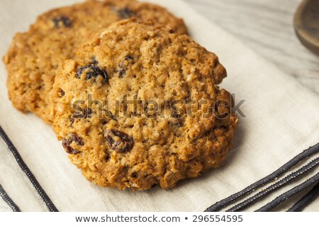 Plate of delicious oatmeal raisin cookies Stock photo © sarahdoow