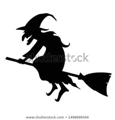 Sziluett boszorkány macska repülés seprű telihold Stock fotó © oksanika