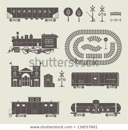 Stok fotoğraf: Toy Car On Railroad Crossing