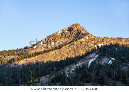 sunrise over the trees and mountains of Lassen volcanic national Stock photo © meinzahn