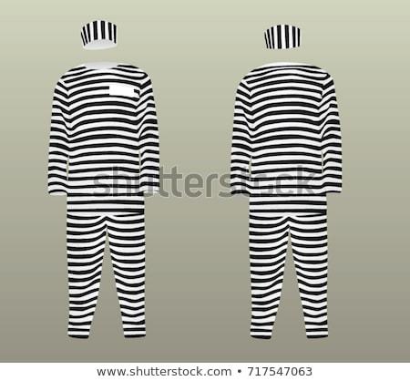Stockfoto: Gevangene · gestreept · uniform · witte · metaal · recht