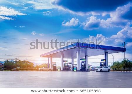 Posto de gasolina assinar carro edifício azul Óleo Foto stock © FrameAngel