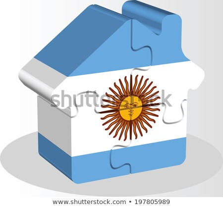 house home icon with argentinian flag in puzzle stock photo © istanbul2009