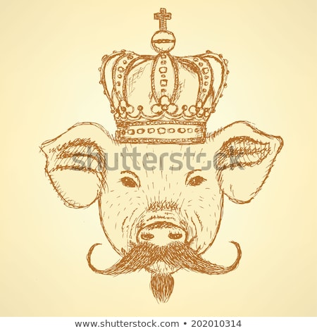 Sketch pig in crown with mustache, vector  background Stock photo © kali