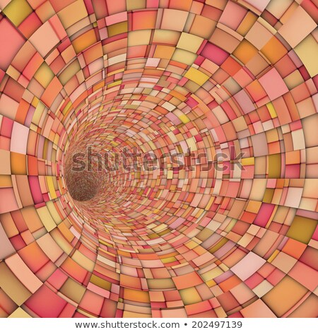 3d fragment techno tile tunnel pipe in pink orange Stock photo © Melvin07