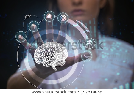 Stock photo: Doctor working futuristic touch screen interface