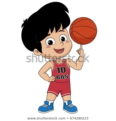 Cute Cartoon Boy Playing Basketball vector illustration ...