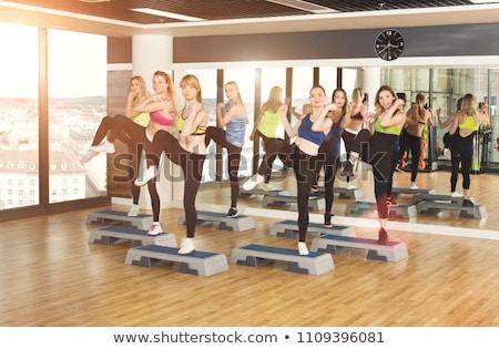 ステップ トレーニング 実例 女性 笑顔 ストックフォト © adrenalina