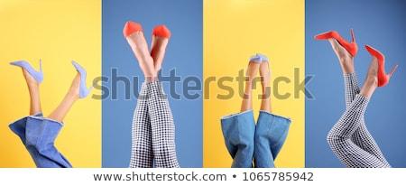 Stok fotoğraf: Kadın · ayakkabı · sarı · deri · yalıtılmış · kadın