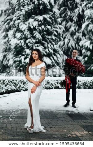 Fiatalember felajánlás rózsa öltöny férfi divat Stock fotó © feelphotoart