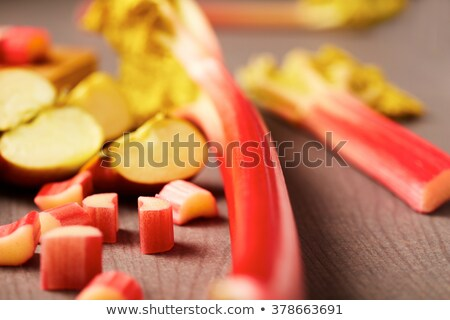 Slice of freshly baked rhubarb crumble with apple Stock photo © raphotos