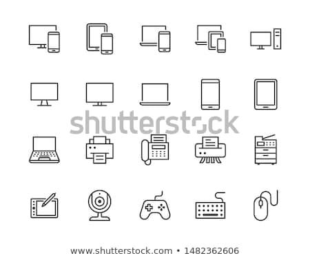 vetor · simples · ícone · do · computador · isolado · branco · escritório - foto stock © Mr_Vector