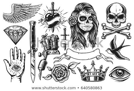kafatası · şerit · eski · okul · dövme · stil - stok fotoğraf © 13UG13th