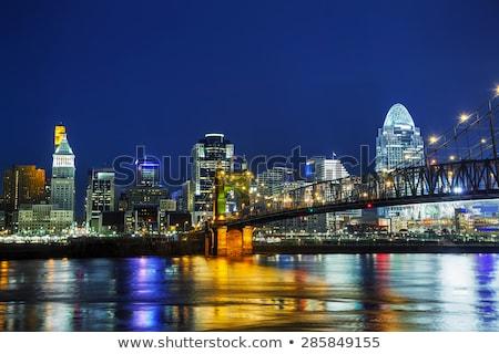 Ohio · nehir · gün · batımı · şehir · köprü · mavi - stok fotoğraf © andreykr