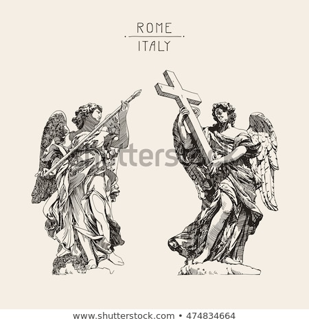 bernini marble statue of angel with cross from the sant angelo bridge in rome stock photo © dserra1
