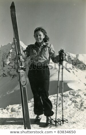 vintage photo with old skier stock photo © smuki