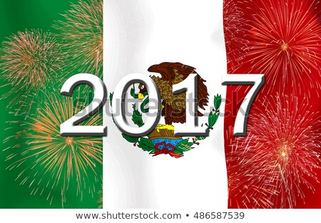 Zászló égő Mexikó háború válság tűz Stock fotó © michaklootwijk