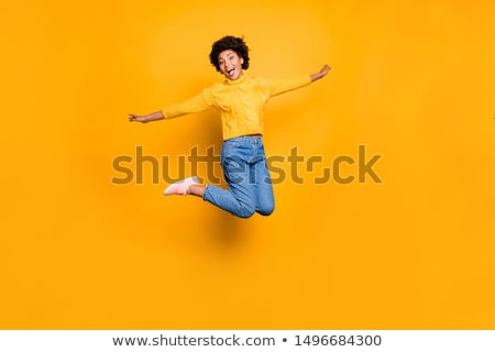 mutlu · genç · kız · kürk · şapka · kahverengi - stok fotoğraf © nyul