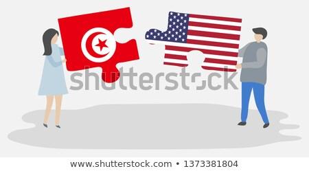 vlag · Tunesië · geïsoleerd · witte · wereldbol · wereld - stockfoto © istanbul2009