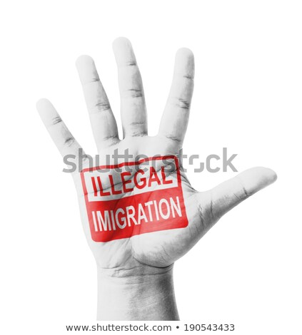 Stop Immigration Concept on Open Hand. Stock photo © tashatuvango