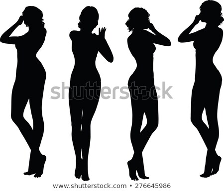 woman silhouette with hand gesture holding nose stock photo © Istanbul2009
