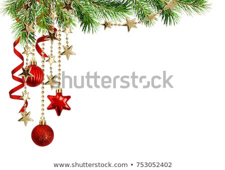 Christmas Border Green And Gold Satin Stock photo © Irisangel