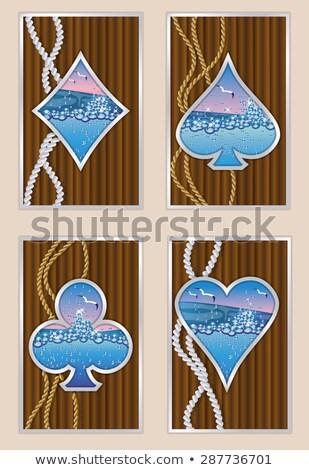 Corações pôquer cartão navio céu água Foto stock © carodi