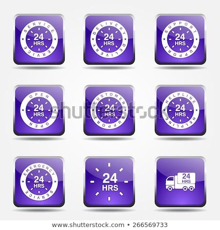 24 hizmetleri kare vektör mor ikon Stok fotoğraf © rizwanali3d