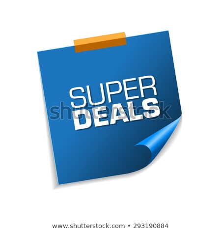 Foto stock: Super Deals Blue Sticky Notes Vector Icon Design