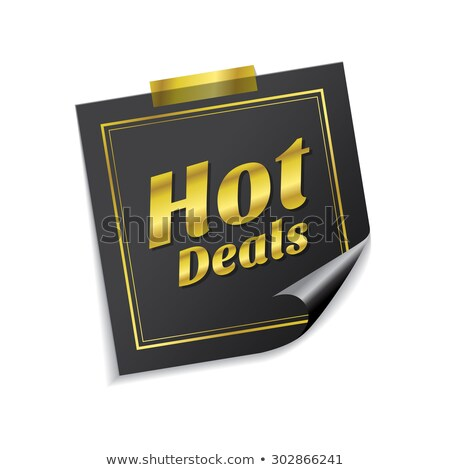hot deals golden sticky notes vector icon design stock photo © rizwanali3d