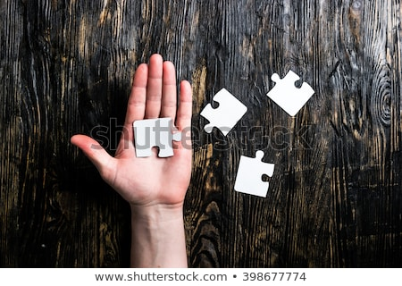 Kirakós játék fa asztal copy space felső öreg fából készült Stock fotó © stevanovicigor