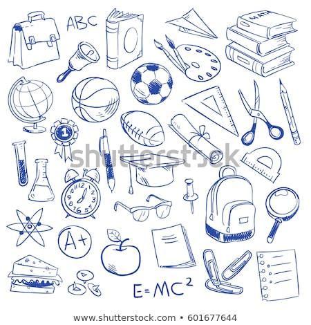 Foto stock: Graduação · boné · mão · desenhar · escolas · ícone