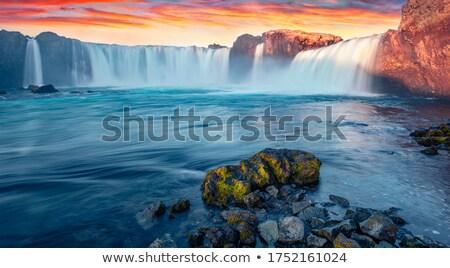 cascade · belle · paysage · Islande · Rainbow · attraction · touristique - photo stock © hofmeester