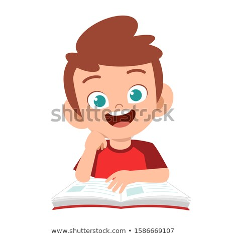 vector of cute little boy studying stock photo © morphart