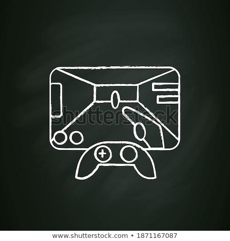 Joystick icône craie dessinés à la main tableau noir Photo stock © RAStudio