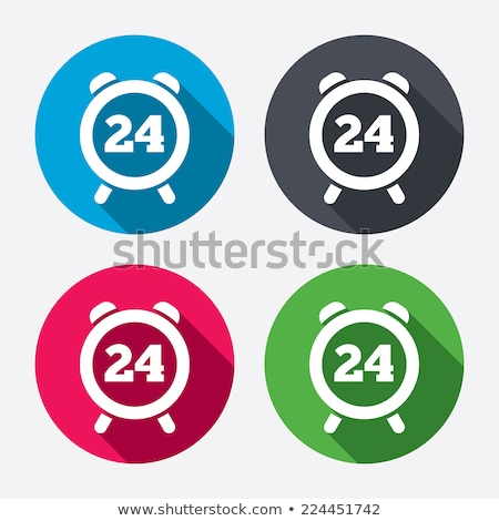 Stock photo: 24 Hours Open Pink Vector Button Icon
