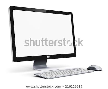 Breedbeeld monitor witte business kantoor televisie Stockfoto © ozaiachin