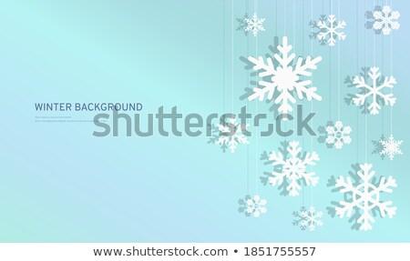 azul · quadro · flocos · de · neve · papel · neve - foto stock © freesoulproduction